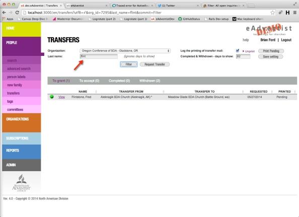Filter transfers
